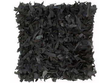 Coussin shaggy Noir 60x60 cm Cuir et coton - vidaXL