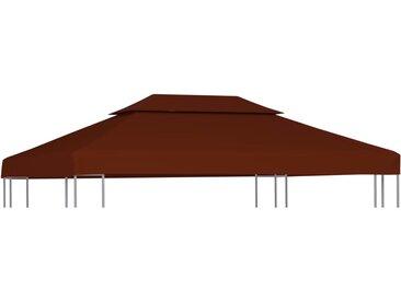 Toile supérieure double de belvédère 310 g/m² 4x3 m Terre cuite - vidaXL