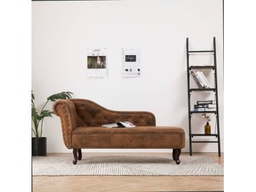 Chaise longue Marron Similicuir daim - vidaXL