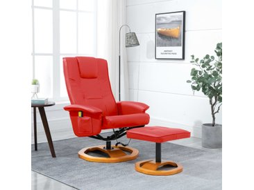Fauteuil de massage avec repose-pied Rouge Similicuir - vidaXL