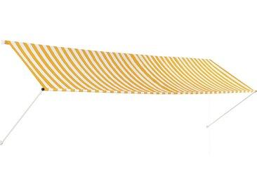 Auvent rétractable 400x150 cm Jaune et blanc - vidaXL