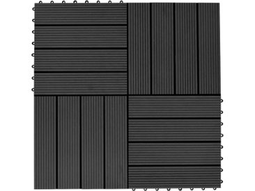 Carreaux de terrasse 22 pcs 30 x 30 cm 2 m² WPC Noir - vidaXL