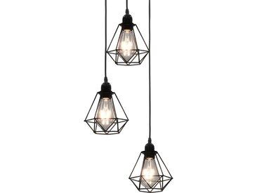 Plafonnier avec design de diamant Noir 3 ampoules E27 - vidaXL