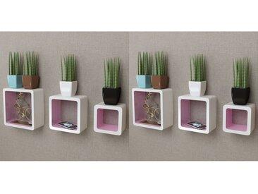 Étagères murales Forme de cube 6 pcs Blanc et rose - vidaXL