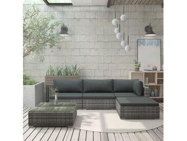 Salon de jardin 5 pcs avec coussins Résine tressée Gris - vidaXL