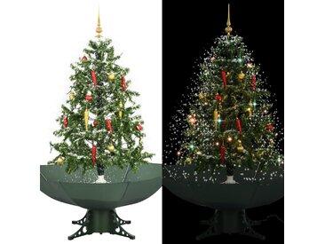 Arbre de Noël neigeux avec base de parapluie Vert 150 cm - vidaXL