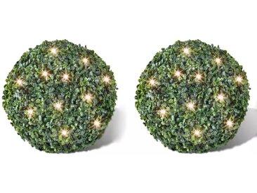 2 pièce de boule 27 cm avec guirlande lumineuse solaire 24 LED - vidaXL