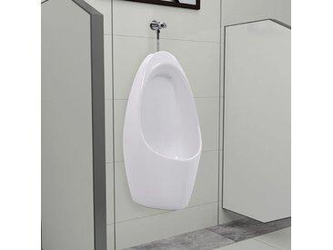 Urinoir mural avec système de rinçage Céramique - vidaXL