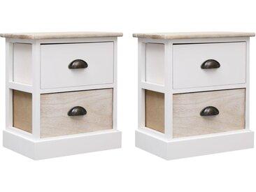 2 pcs Tables de chevet Blanc et naturel 38x28x45 cm Paulownia - vidaXL