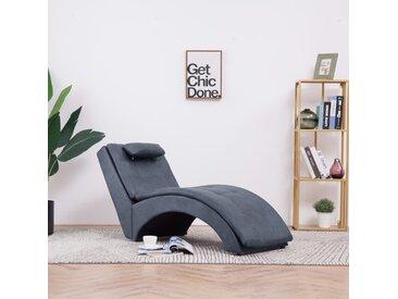 Chaise longue avec oreiller Gris Similicuir daim - vidaXL