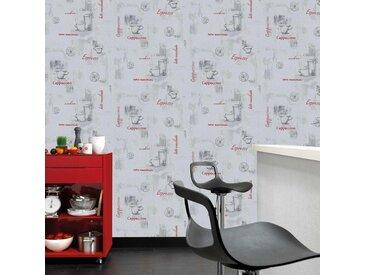 Rouleaux de papier peint 2 pcs Blanc 0,53x10 m Café - vidaXL
