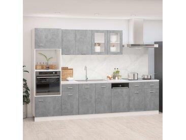 Ensemble de meubles de cuisine 7 pcs Gris béton Aggloméré - vidaXL