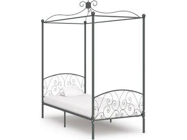 Cadre de lit à baldaquin Gris Métal 90 x 200 cm - vidaXL
