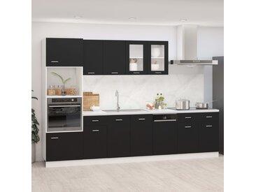 Ensemble de meubles de cuisine 7 pcs Noir Aggloméré - vidaXL