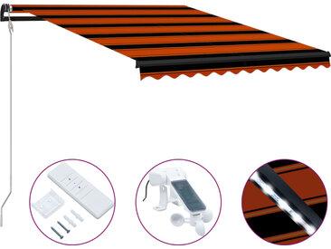 Auvent rétractable capteur de vent LED 350x250 cm Orange marron - vidaXL