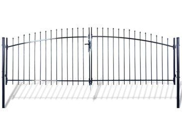 Double portail avec haut sous forme de lance 400 x 175 cm  - vidaXL