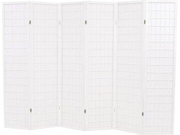 Cloison de séparation 6 panneaux Style japonais 240x170cm Blanc - vidaXL