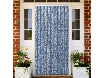 Moustiquaire Bleu blanc et argenté 100x220 cm Chenille - vidaXL