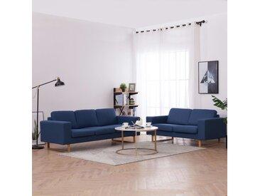 Ensemble de canapé 2 pcs Tissu Bleu - vidaXL