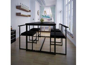 Ensemble de table et de chaises de salle à manger 5 pièces Noir - vidaXL
