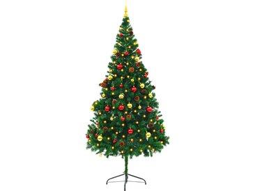 Arbre de Noël artificiel décoré boules LED de Noël 210cm Vert - vidaXL