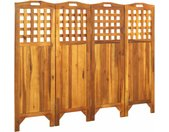Cloison de séparation 4 panneaux 161x2x120 cm Bois d'acacia - vidaXL