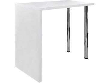 Table de bar MDF avec 2 pieds en acier Haut brillance Blanc  - vidaXL