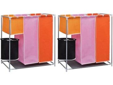 Paniers à linge à 3 sections 2 pcs avec un bac de lavage - vidaXL