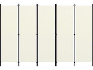 Cloison de séparation 5 panneaux Blanc crème 250x180 cm - vidaXL
