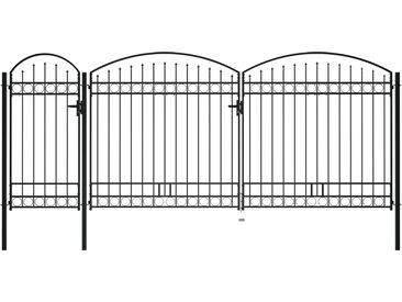Portail de jardin avec dessus arqué Acier 2,25 x 5 m Noir - vidaXL