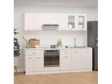 Ensemble de meubles de cuisine 8 pcs Blanc brillant Aggloméré - vidaXL