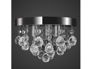 Lustre plafonnier contemporain cristal lampe chromé - vidaXL