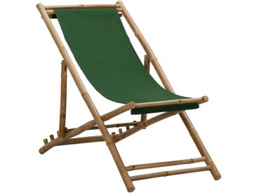 Chaise de terrasse Bambou et toile Vert - vidaXL