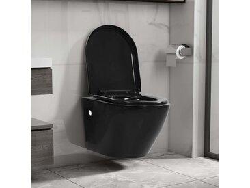 Toilette suspendue au mur sans rebord Céramique Noir - vidaXL