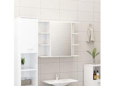 Armoire à miroir de bain Blanc brillant 80x20,5x64 cm Aggloméré - vidaXL