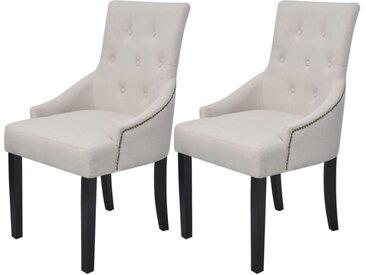 Chaises de salle à manger 2 pcs Gris crème Tissu - vidaXL
