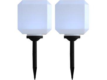 Lampe cubique solaire à LED d'extérieur 2 pcs 20 cm Blanc - vidaXL