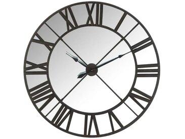 Horloge miroir Métal noir - MERA - L 122.5 x l 6.5 x H 122.5 - vidaXL