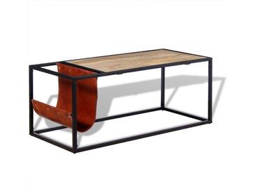 Table basse avec porte-revues Cuir véritable 110 x 50 x 45 cm - vidaXL