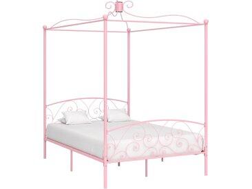 Cadre de lit à baldaquin Rose Métal 120 x 200 cm - vidaXL