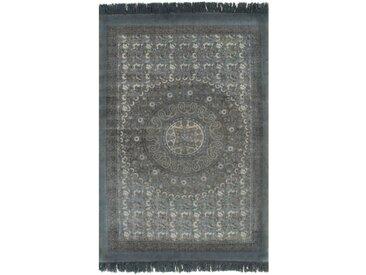 Tapis Kilim Coton 160 x 230 cm avec motif Gris - vidaXL