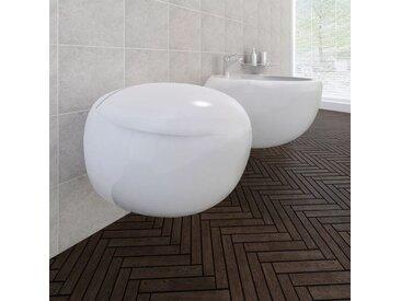 Cuvette WC suspendue et bidet suspendu en céramique Blanc - vidaXL