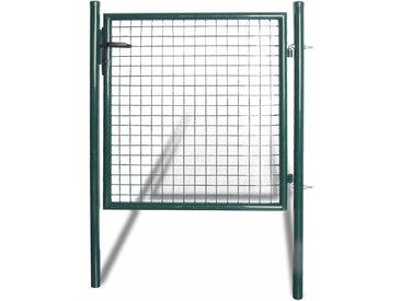 Portail de clôture à porte simple Acier enduit de poudre  - vidaXL
