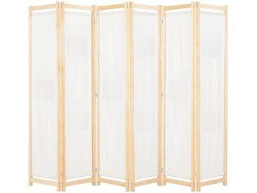 Cloison de séparation 6 panneaux Crème 240 x 170 x 4 cm Tissu   - vidaXL