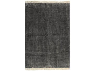 Tapis Kilim Coton 120 x 180 cm Anthracite - vidaXL