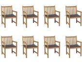 Chaises de jardin 8 pcs avec coussins anthracite Bois de teck - vidaXL