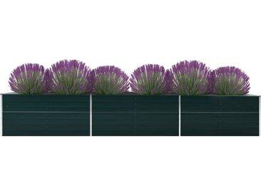 Lit surélevé de jardin Acier galvanisé 480x80x45 cm Vert - vidaXL