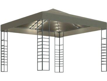 Chapiteau avec guirlande lumineuse 3x3 m Taupe 180 g/m² - vidaXL