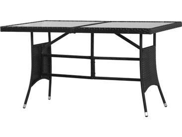 Table de jardin Noir 140x80x74 cm Résine tressée - vidaXL