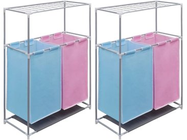 Paniers à linge à 2 sections 2 pcs et une étagère pour séchage - vidaXL